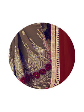 Indian Women Embroidered Chiffon & Georgette Maroon & Light Brown Designer Saree -MG12320