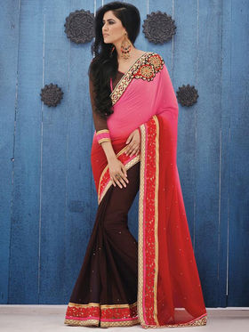 Bahubali Georgette Embroidered Saree - Multicolour_GA.50129