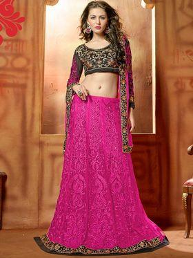 Viva N Diva Embroidered 2 in 1  Lehenga cum Anarkali Suit  - Pink & Black