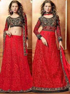 Viva N Diva Embroidered 2 in 1  Lehenga cum Anarkali Suit  - Red & Black