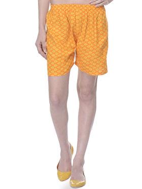 Lavennder Cotton Printed Ladies Short - Yellow_LW-5159