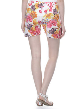 Lavennder Cotton Printed Ladies Short - White_LW-5162