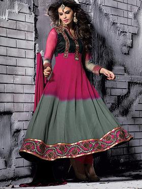 Viva N Diva Semi Georgette Embroidered Salwar Suit - Pink & Grey_Cosmos-13003