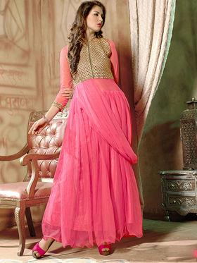 Viva N Diva Net  Embroidered Salwar Suit - Dusty Pink_Vedant-1007