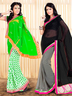 Pack of 2 Zoom Fabrics Embroidered Chiffon Saree_2720-A,2725-A