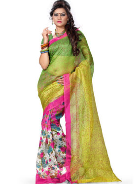 Combo of 5 Adah Fashions Supernet Printed Saree -ad07