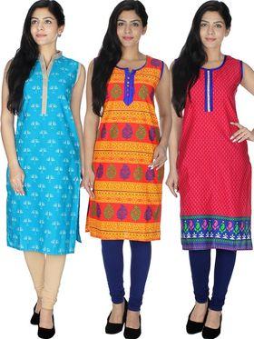 Pack of  3 Arisha Cotton Printed Kurti -Cm2