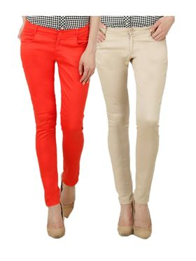 Pack of 2 Women Slim Fit Cotton Lycra Stretchable Trouser - TGLCH-17