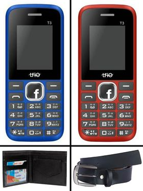 Combo of Trio Triplet Feature Phone (Red + Blue) + Wallet + Belt
