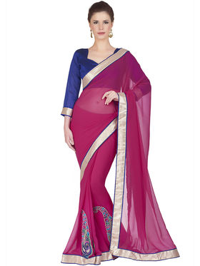 Designersareez Faux Georgette Embroidered Saree -1827