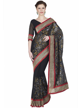 Designersareez Faux Georgette Embroidered Saree -1879