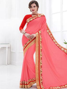 Indian Women Embroidered Chinon Pink Designer Saree -GA20324