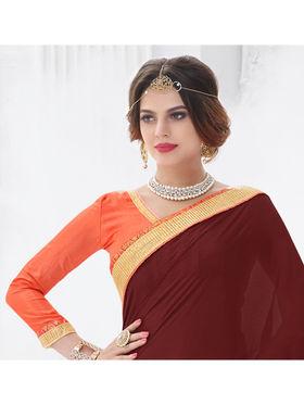 Indian Women Embroidered Satin Maroon & Pink Designer Saree -GA20326