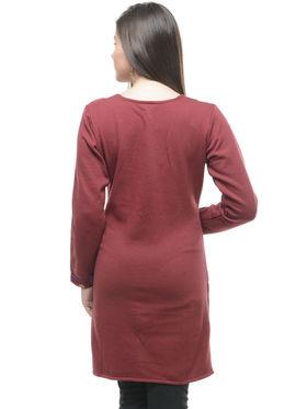Lavennder Designer Brown Solid Woolen Kurti -21029