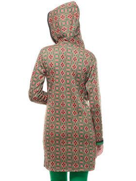 Lavennder Designer Green Printed Woolen Kurti With Hood -21039