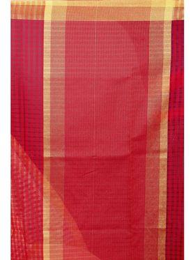 Zoom Fabrics Plain Cotton Silk Red Saree -4052B