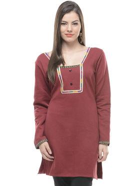 Lavennder Brown Solid Woolen Kurti -4317