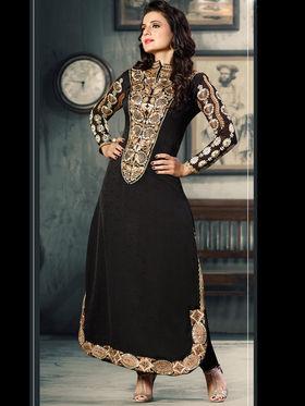 Adah Fashions Jacquard Silk Embroidered Semi-Stitched Salwar Suit - Black