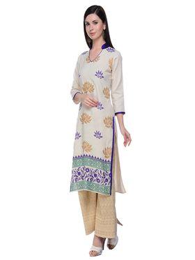 Lavennder Khadi Hand Blocked Kurti -623555