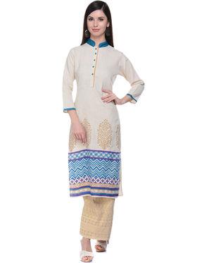 Lavennder Khaadi Plain Off White Long Straight Kurta - 623562