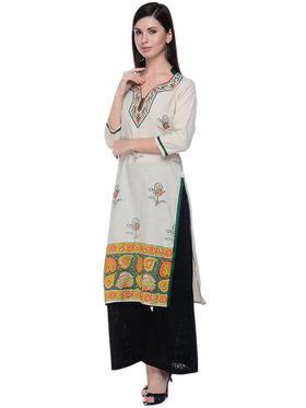 Lavennder Khaadi Printed Off White Long Straight Kurta - 623563