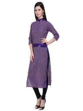 Lavennder Khadi Striped Kurti -623565