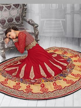 Adah Fashions Embroidered Faux Georgette Semi-Stitched Suit 734-1004