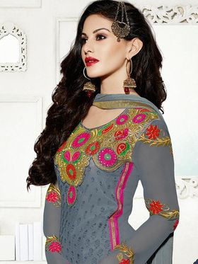 Adah Fashions Embroidered  Brasso & Georgette Semi-Stitched Suit 788-11306