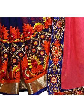 Khushali Fashion Embroidered Georgette Half & Half Saree_KF09