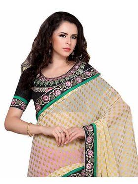 Khushali Fashion Embroidered Chiffon Half & Half Saree_KF04