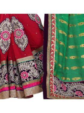 Khushali Fashion Embroidered Georgette Half & Half Saree_KF05