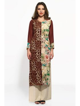 Brown and Beige Georgette Embroidered Kurta_AY-KR-HRC-705