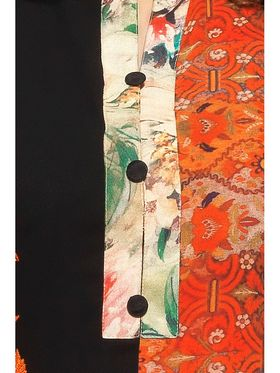 Black and Orange Georgette Embroidered Kurta_AY-KR-HRC-706