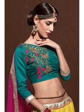 Yellow Net Embroidered Lehenga Choli with Pink Dupatta_AY-LH-SWR-10006
