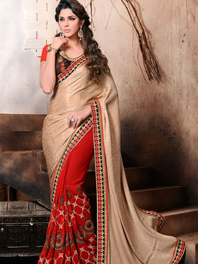 Beige and Red Embroidered Half n Half Saree with Blouse Piece_AY-SR-AK-3207
