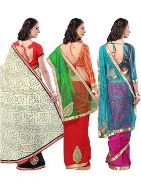 Pack of 3 Admyrin Printed Georgette Net & Bhagalpuri Silk Saree -CMB1