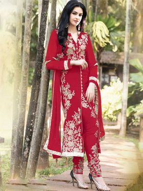 Adah Fashions Georgette Embroidered Semi Stitched Suit - Red - 100-308B