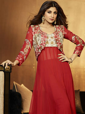Adah Fashions  Georgette Embroidered Semi Stitched Salwar Kameez - Red - 501-6007