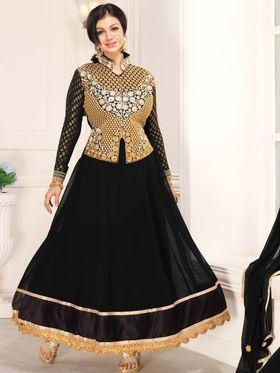 Adah Fashions Georgette Embroidered Anarkali Suit - Black - 658-1010