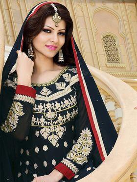 Adah Fashions Georgette Embroidered Anarkali Suit - Black - 666-15002