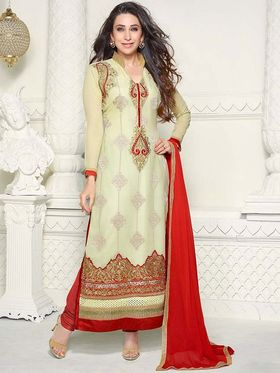 Adah Fashions Georgette Embroidered A-Line Salwar Suit - Creame - 698-5127