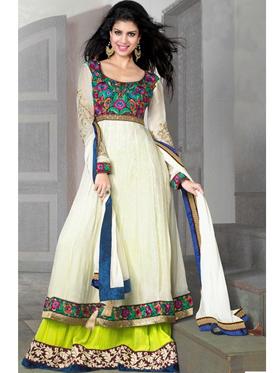Adah Fashions Designer Georgette & Jacquard Semi-Stitched Suit - Off-White