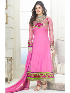 Adah Fashions Designer Georgette Semi-Stitched Suit - Pink - 463-2001