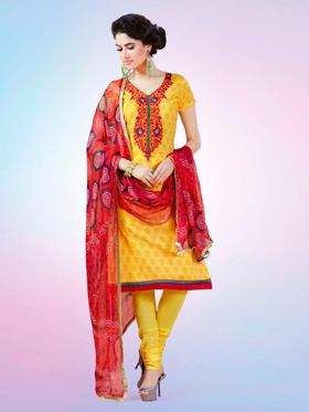 Adah Fashions Designer Pure Cotton Semi-Stitched Suit - Yellow