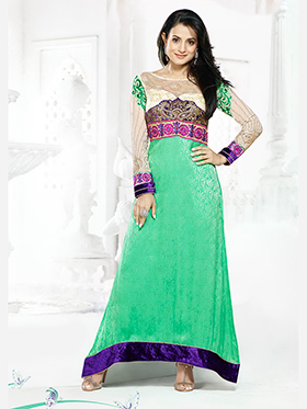 Adah Fashions Embroidered Georgette Semi-Stitched Anarkali Suit - Green - 449-5006
