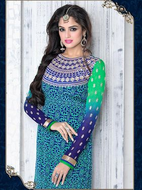 Adah Fashions Crape Embroidered Semi Stitched A-Line Dress Material - Blue & Green_624-5503
