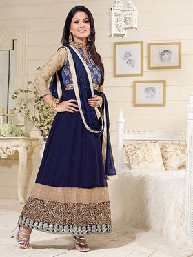 Adah Fashions Georgette Embroidered Semi Stitched Anarkali Dress Material - Blue_626-1005