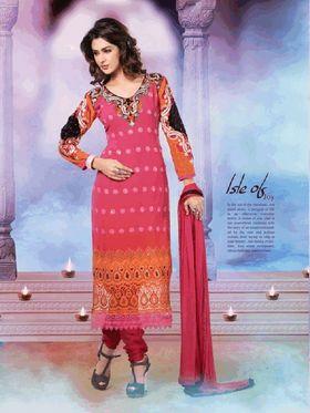 Adah Fashions Georgette Semi Stiched Salwar Kameez - Pink - 498-3008