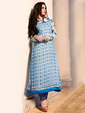 Adah Fashions Georgette Embroidered Semi Stitched Suits - Cream with Blue Print