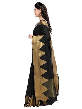 Admyrin Chanderi Plain Saree - Black - ADM-SR-SNH-10004